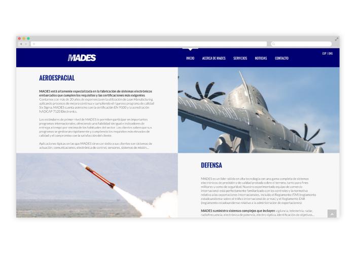 Diseño web ingeniería de defensa aeroespacial