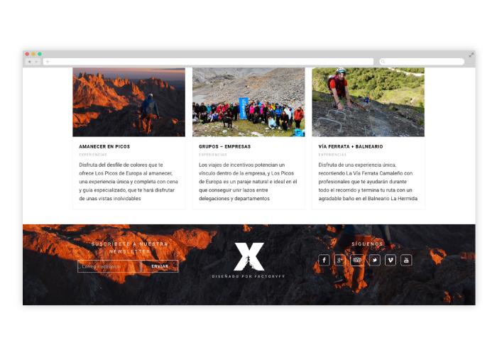 Diseño web y tienda deportes de aventura en los picos de europa