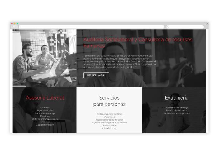 Maquetación web asesoría laboral