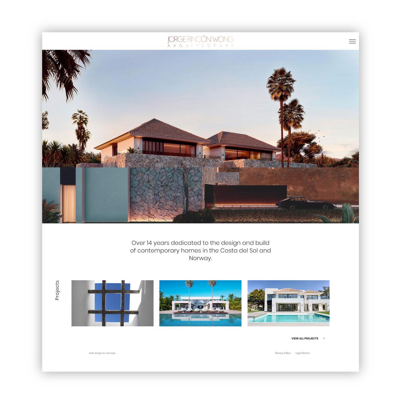 Página principal de la web de este arquitecto de lujo