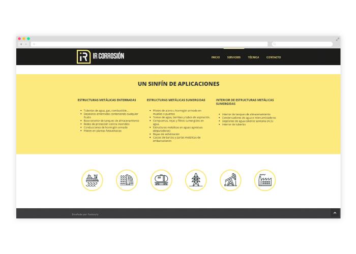 Diseño sección web para industria