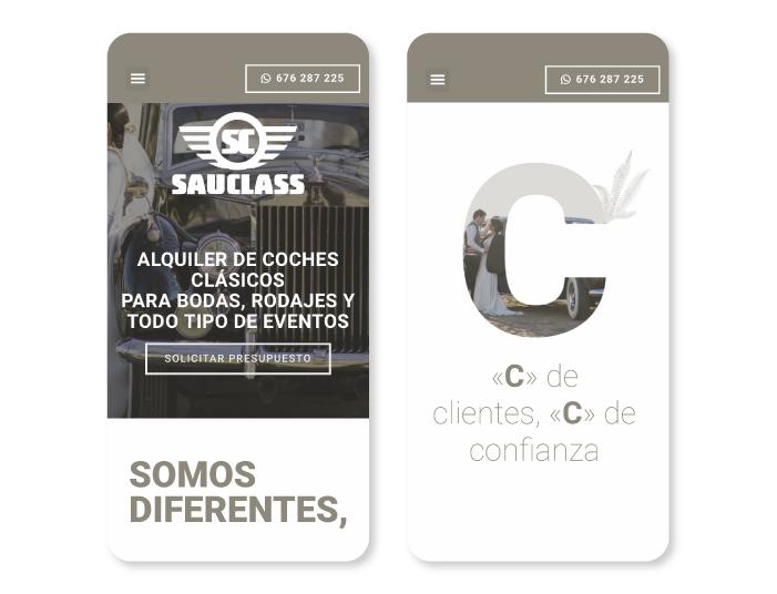 Web a medida de Sauclass, orientada al alquiler de coches clásicos