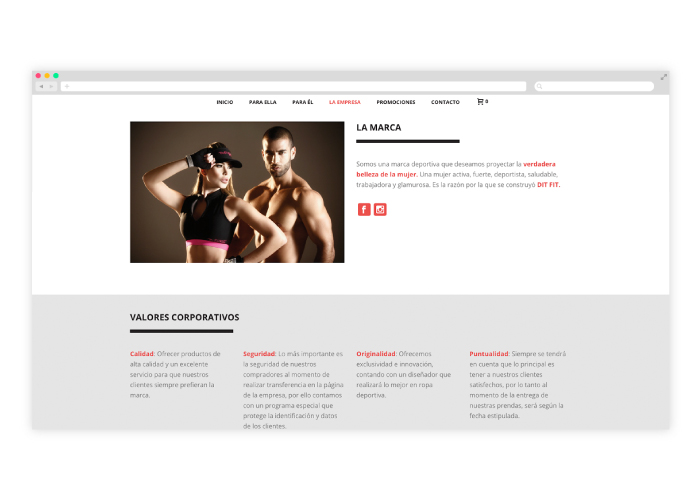 Diseño tienda ropa fitness
