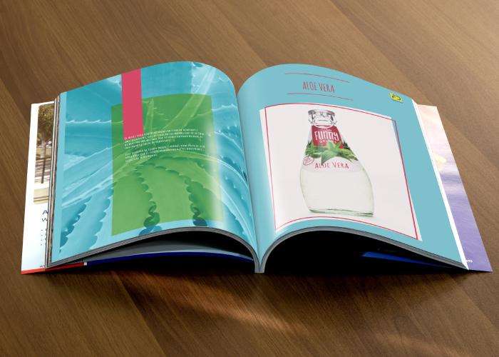 Diseño de catálogo de bebidas de aloe vera