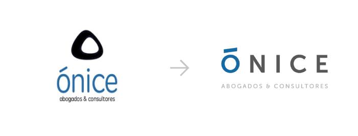 Ejemplo de rebranding para el logo de 'Ónice'