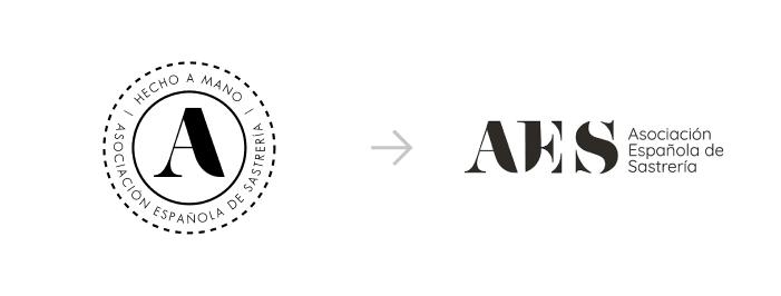 Ejemplo de rebranding para el logo de 'AES. Asociación de Sastrería Española'