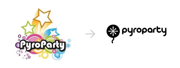 Ejemplo de rebranding para el logo de 'Pyroparty'