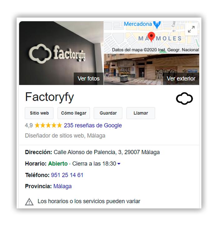 Ficha de Google MyBusiness de Factoryfy