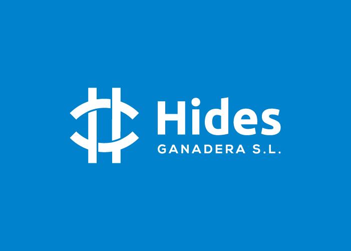 Diseño de logo de Hides Ganadera en fondo azul