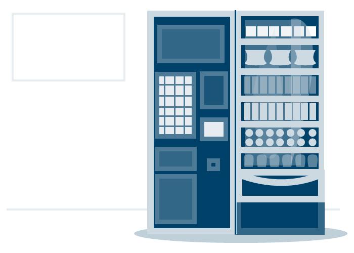 Ilustraciones para representar a modo de infografía el proceso de instalación de una máquina expendedora de alimentos