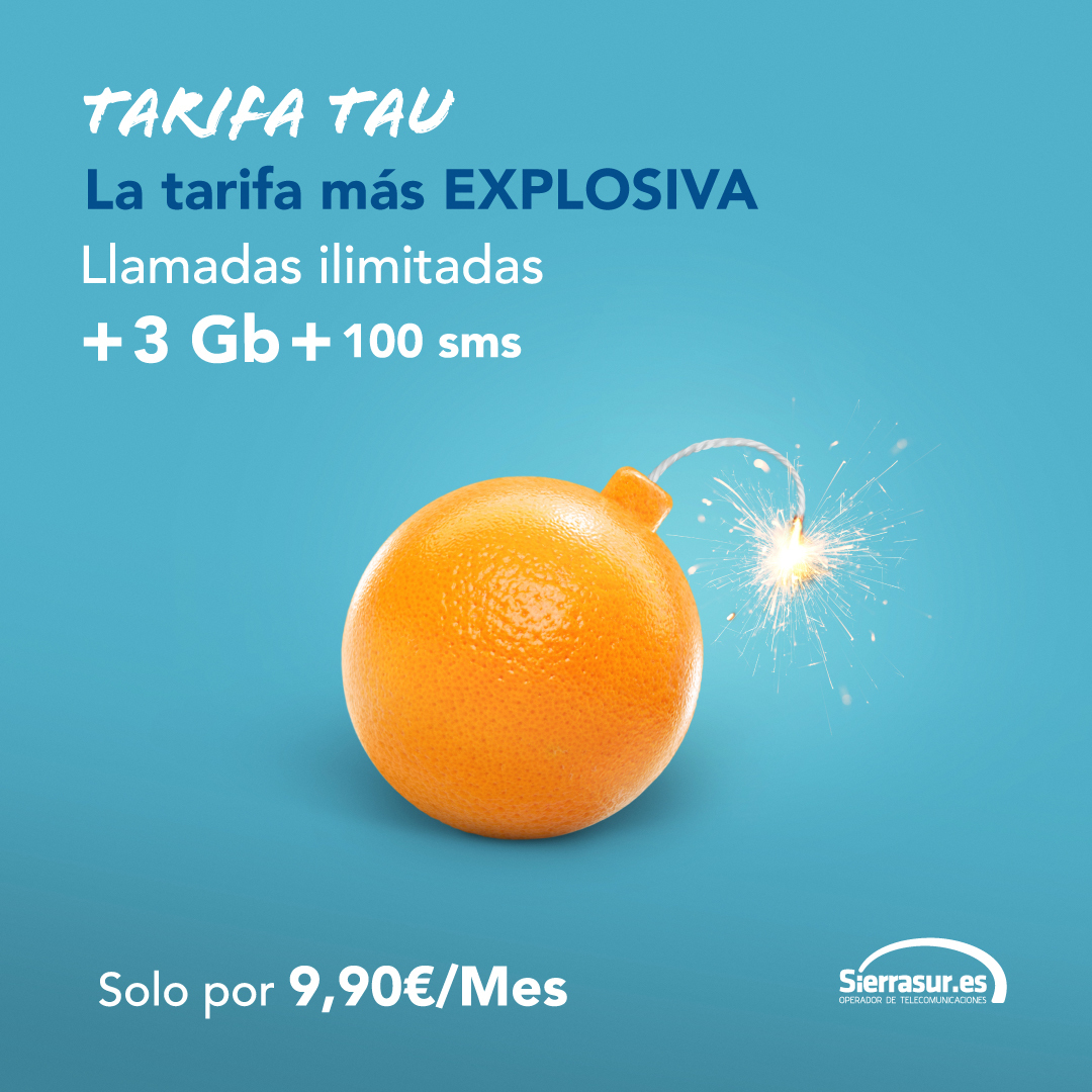 Diseño de Redes Sociales para operador de telefonía local. Se aprecia una bomba-naranja, con mecha y fondo azul.