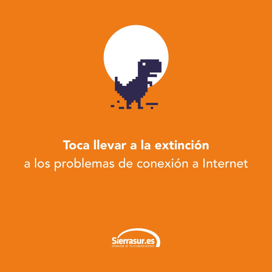 """Sierrasur.es, imagen donde sale el dinosaurio de Google con el texto """"Toca llevar a la extinción a los problemas de conexión a Internet"""""""