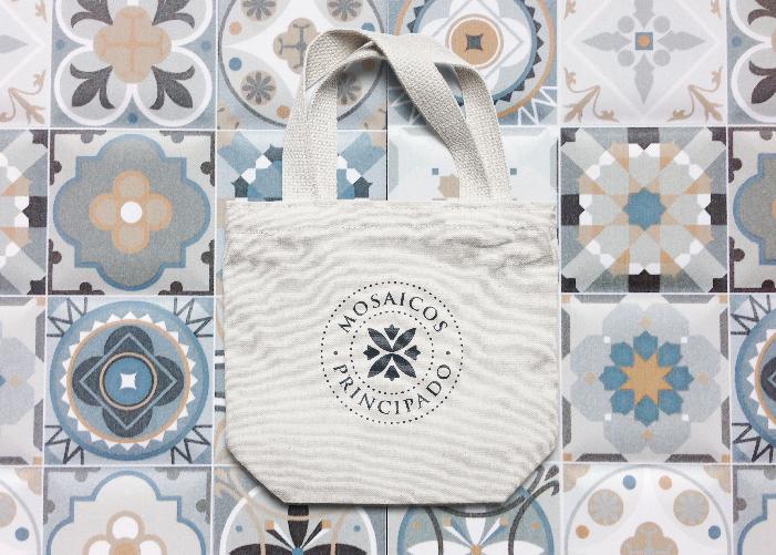 diseño bolsa y logo mosaicos