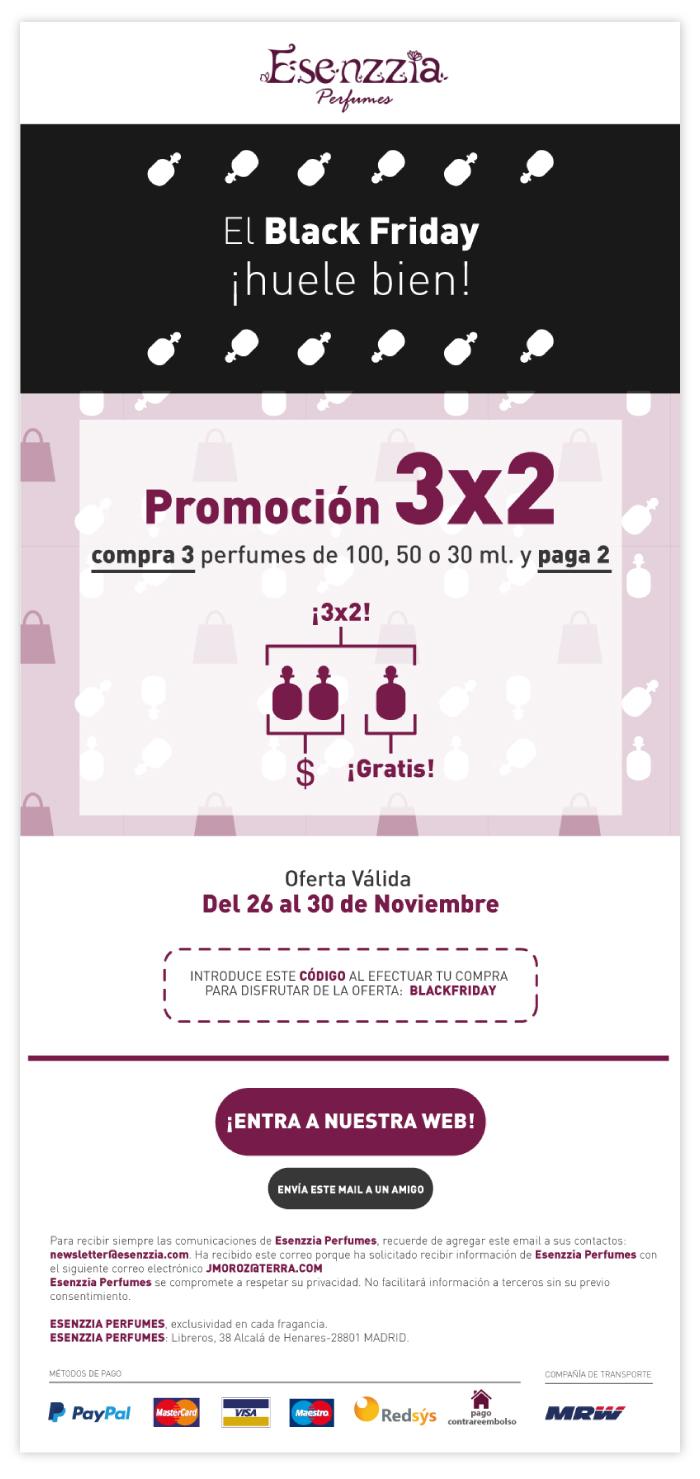Mails marketing para las campañas promocionales de una perfumería con tienda online