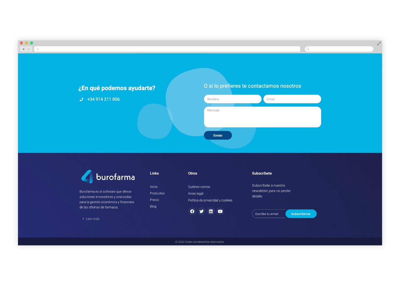 diseño página de contacto para web farmacia