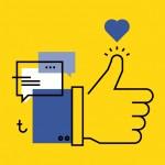 Diseño gráfico para redes sociales como Facebook. En la imagen, una mano arriba.