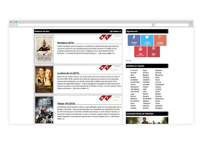 Diseño y programación de web a medida para un portal de cine
