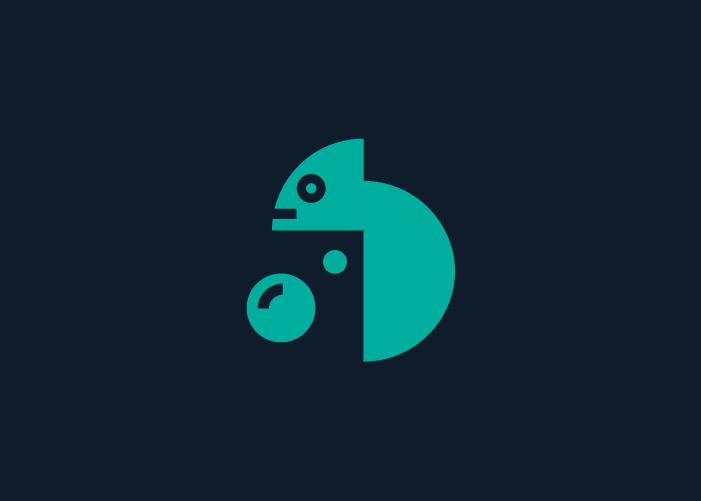 diseño logo camaleón y cámara