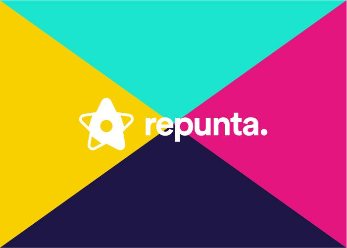 Logotipo de Repunta. en un fondo de color