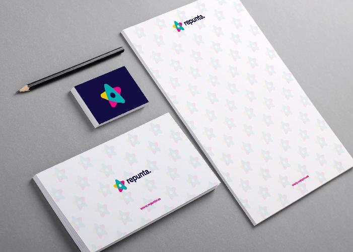 Diseño de papelería para Repunta. empresa de marketing online.