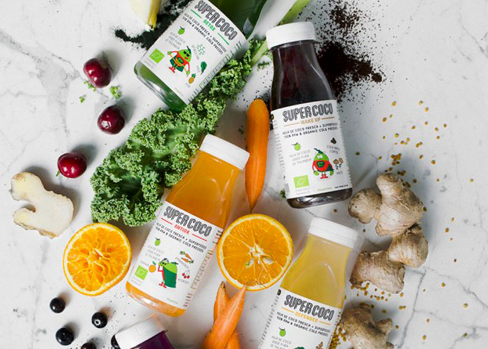 Diseño etiqueta para gama de bebidas con superfoods