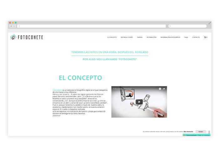 Diseño de tienda online dedicada a la venta de fotografías reveladas en Madrid, en tiempo express y con reparto a domicilio.