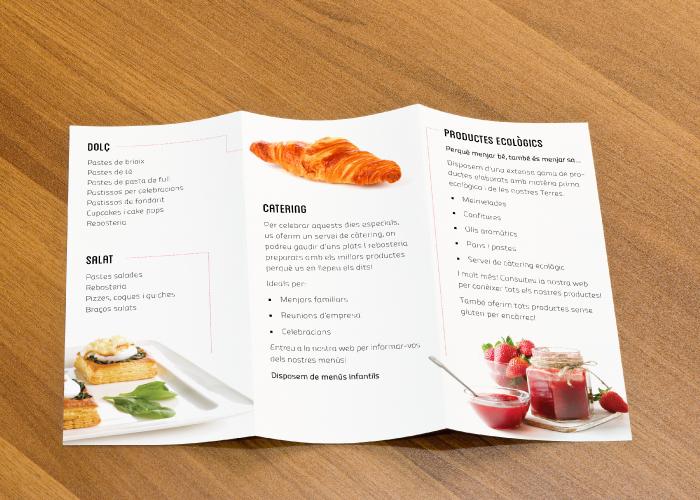 Diseño de carta menú triptico para pastelería de tarragona