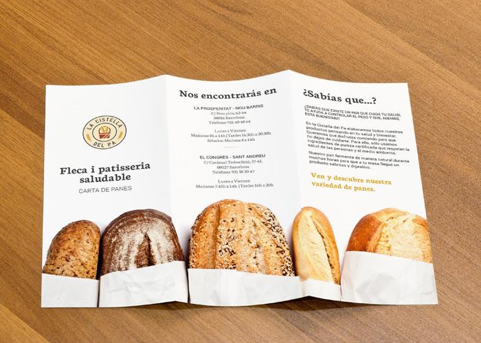 Tríptico de panadería artesana en Barcelona