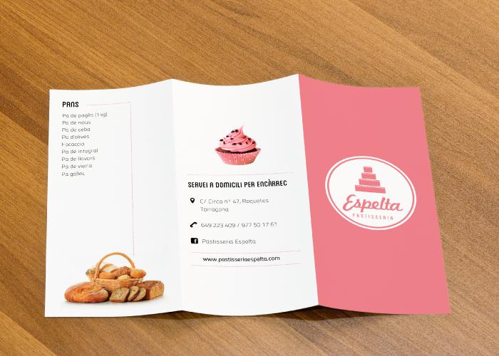 Diseño de carta menú triptico para cafetería de tarragona