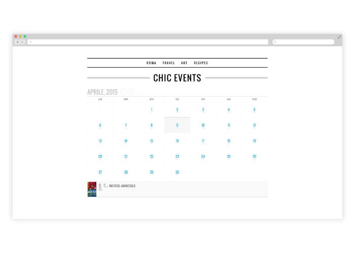 Diseño de blog para bloguera que hablará de su vida en Roma, asistiendo a los eventos más chic