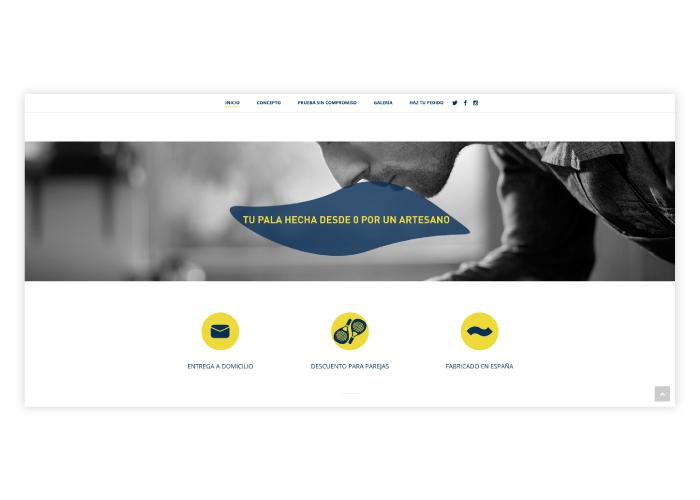 Diseño web para empresa de creación de palas de padel personalizadas